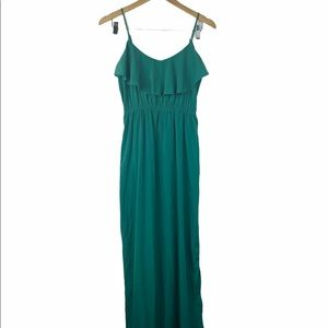 SOPRANO Women Green Camisole Ruffled Maxi Dress